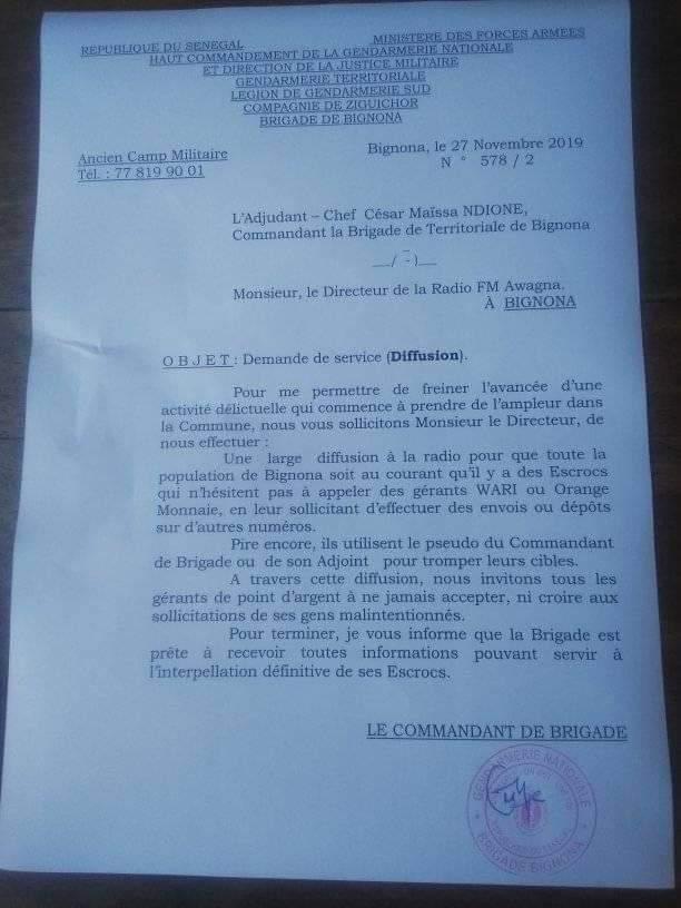 Bignona: Des escrocs se font passes pour le commandant de brigade