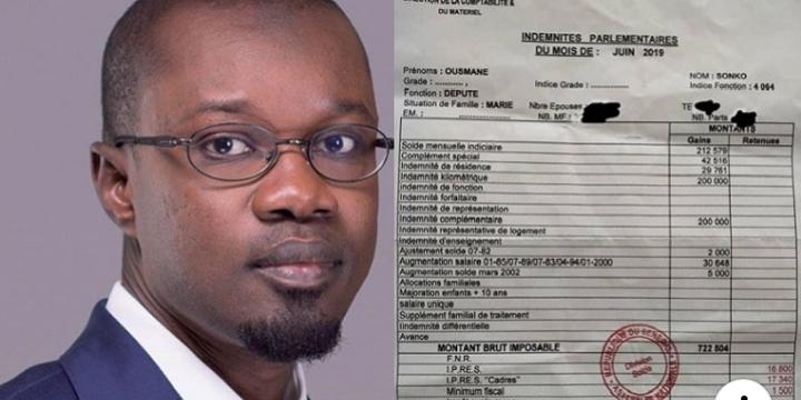 Sonko publie son bulletin de salaire en réponse à Decroix